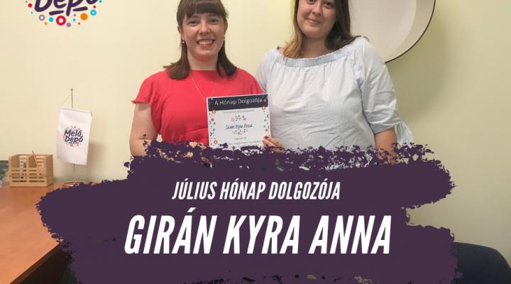 Július hónap dolgozója Budapesten: Girán Kyra Anna